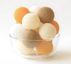 Autumn Fall Season Orange Brown Cream White Cotton by LivingPastel