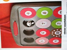 Clever Countdown: with its 24 openings a mini-muffin pan makes the perfect base for a treat-filled Advent calendar. The numbered coverings are held on by magnets. Genius. Cut 24 circles 2 1/4 inch from a 12x24 inch adhesive magnetic sheet. Adhere to patterned paper, then cut out. With a 1 in circular punch, make 24 paper circles. Number them & attach with a glue stick to magnetic circles. Fill wells with  stickers, candy, notes & tiny toys. Make 2 holes in one side of the pan, thread with…