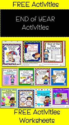 Engaging Lessons And Activities: End of the Year Activities and Worsksheets Free