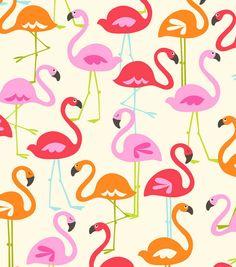 Flamingo flannel fabric YARD by fabricfrantic on Etsy