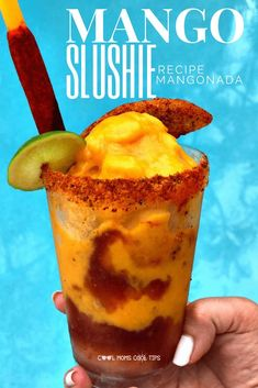 You will never want another frozen drink again! This Mangonada Mango slushie recipe will put everything else to shame! Inspired by our favorite monster friends of Hotel Transylvania 3 you will be in total vacation mood when you try this recipe! Mexican Snacks, Mexican Drinks, Mexican Food Recipes, Mango Drinks, Yummy Drinks, Healthy Drinks, Mangonada Recipe, Smoothie Recipes, Cup Cakes