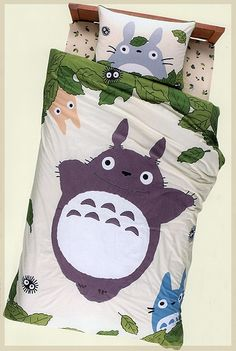 I must own this. MY NEIGHBOR TOTORO BED SHEET SET STUDIO GHIBLI !!!!!