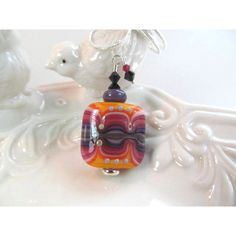 Necklace orange purple glass lampwork beads with crystals (€36) ❤ liked on Polyvore featuring jewelry, necklaces, colorful beaded necklace, orange bead necklace, glass bead necklaces, colorful necklaces and purple bead necklace