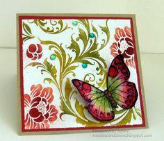 pretty colors & butterfly- http://susanneandersen.blogspot.com/2012/04/floral-brocade-in-red-green.html