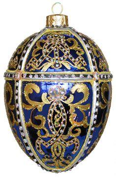 Edward Bar Oriental Egg Sapphire Christmas Ornament Handmade Christmas