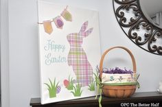 Silhouette Bunny Canvas  and Easter mantel- - OPC The Better Half