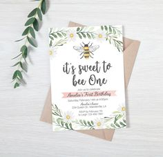 Digital Bee Invitation Printable Bee invite Bee first birthday Invitation girl first birthday invite Bee-day party sweet to bee one Gold First Birthday, First Birthday Themes, First Birthday Invitations, Happy Birthday Banners, First Birthdays, Birthday Ideas, Farm Birthday, Birthday Photos, Birthday Gifts