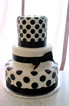 black and white polka dot cake