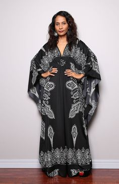 Black Boho Maxi Dress   Kimono Butterfly Kaftan Maxi by Nuichan