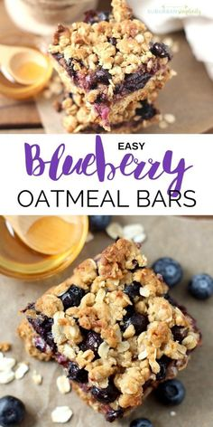 Easy Blueberry Oatmeal Bars Blueberry Oatmeal Bars are a nutritious and delicious recipe idea the whole family will gobble up. One bowl and one pan are all you need for these easy oatmeal bars bursting with fresh blueberries! Easy Oatmeal Bars, Blueberry Oatmeal Bars, Oatmeal Bars Healthy, Baked Oatmeal Recipes, Oatmeal Cups, Oatmeal Squares, Oatmeal Yogurt, Blueberry Cookies, Strawberry Oatmeal