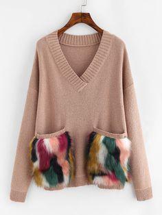 Shop Faux Fur Pocket Patched Drop Shoulder Jumper online. SheIn offers Faux Fur Pocket Patched Drop Shoulder Jumper & more to fit your fashionable needs.