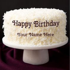 Personalize Happy Birthday Coconut Cake With Name.Write Name on Cake For Friends.White Coconut Cake With Your Name.Online Name Birthday Cake Generator