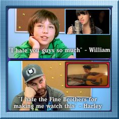 William from Kids React to My Moment by Rebecca Black and Harley of Epic Meal Time on Youtubers React to Justin Bieber. Both are not happy with The Fine Bros showing them those videos.
