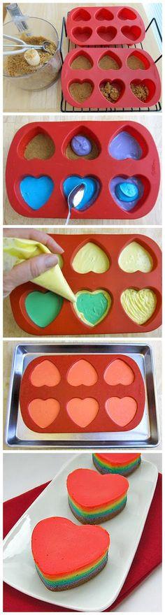Image via We Heart It https://weheartit.com/entry/147272566 #cheesecake #desserts #food #hearts #pretty #rainbow #yummy #rainbowhearts