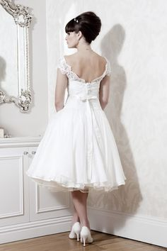 Short Sleeve Appliques Tea-length Wedding Dress Brial | eBay