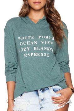 Trendy Hooded Long Sleeve Letter Print Women's HoodieSweatshirts & Hoodies | RoseGal.com