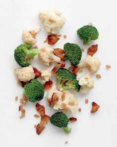 Broccoli and Cauliflower with Bacon Vinaigrette