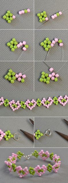 Beaded heart pattern bracelet love it lc pandahall com will share us the tutorial soon Kandi Bracelets, Diy Bracelets Easy, Handmade Bracelets, Diy Crafts Jewelry, Bracelet Crafts, Bead Crafts, Beaded Bracelet, Seed Bead Tutorials, Beading Tutorials