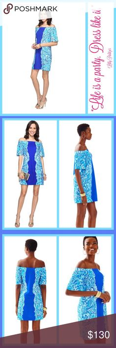 "Sale! NWT Lilly Pulitzer Tiana Off Shoulder Dress The Tiana Dress in Brilliant Blue Moon Jellies Print is off the shoulder and on your wish list this year. We love the mix of print and solid on this A-line fit, flutter sleeve dress.  - Engineered Off The Shoulder A-Line Fit Flutter Sleeve Dress. - 19 1/2"" From Natural Waist To Hem. Printed Lightweight Ponte (60% Rayon, 33% Nylon, 7% Spandex). - Machine Wash Cold. Delicate Cycle. Lilly Pulitzer Dresses Mini"