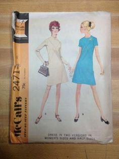 70s Mccalls 2471 Pattern Womens Dress Bust 43 Size 20 1/2 French Darts Bodice FF