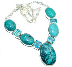 $189.50 Secret+Beauty+AAA+Blue+Turquoise+Sterling+Silver+Necklace at www.SilverRushStyle.com #necklace #handmade #jewelry #silver #turquoise