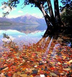 Pebble Shore Lake in Glacier National Park. North Carolina.: