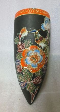 MORIAGE BIRD WALL POCKET Hotta Yu Shoten & Co mark w MATTE BROWN & SLIP WORK 8.5 in Pottery & Glass, Pottery & China, China & Dinnerware, Other Wall Pockets | eBay
