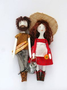 DIY gifts?  BASIC PRICE FOR COUPLE (2) DOLL PORTRAITS: $190 7 in tall. ne of a kind dolls from paper clay without the use of molds, paint them and sew their small outfits from vintage fabric. Their hair is made from wool fibers. Dedalos Italy