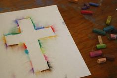 cross with pastels