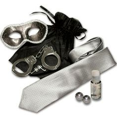 Grey and Silver Mystery Bondage Kit with Steel Ben Wa Balls  Grey and Silver Mystery Bondage Kit from the Dear Lady collection. Perfect for lovers who want to entice and explore one another. Elegant erotic kit includes alluring Masquerade Mask, Metal Handcuffs, Steel Ben Wa Balls, Personal Water-Based Lubricant, and the signature Grey Tie. Seductive Venetian Style Masquerade Mask brings the fantasy to life for an evening of mystery and passion