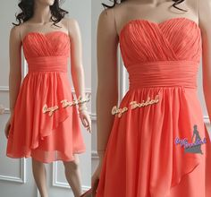 Coral sweet heart Bridesmaid Dress knee length by AyaBridal