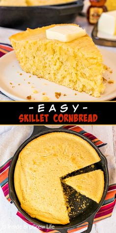 Easy Skillet Cornbread - this easy cornbread can be made with simple ingredients found in your pantry. It is a great recipe to serve with chili, pork, or soups. Homemade Cornbread, Sweet Cornbread, Best Bread Recipe, Bread Recipes, Skillet Cornbread, Easy Soup Recipes, Dinner Recipes, Pumpkin Butter, Bread Bun