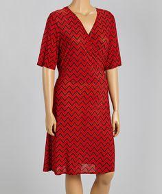 Look at this #zulilyfind! Red & Black Chevron Surplice Dress - Plus by Star Vixen #zulilyfinds