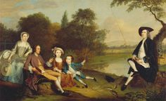 1749 Arthur Devis - Portrait of a Family, Traditionally Known as the Swaine Family of Fencroft, Cambridgeshire (Yale Center for British Art) Google Art Project, Oil On Canvas, Canvas Prints, This Is A Book, England, Art Google, Family Portraits, 18th Century, Poster Size Prints