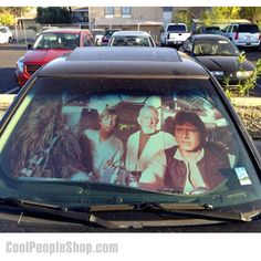$21.99 Star Wars Car Sunshade | Cool People Shop  This officially licensed Star Wars Sunshade protects your vehicle interior, keeping cooler and showing off your style sense at the same time. Millenium Falcon Sunshade – Now you can imagine your 94′ Honda Civic is barreling through space at warp speed.