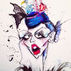 Mlle. Trudeau porte un oiseau sur son chapeau Drawing by Jamie Lee Reardin