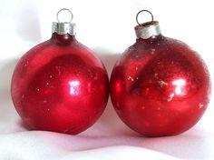 2 Vintage Red USA Christmas Ornaments by BythewaysideXmas on Etsy