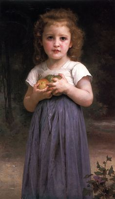 Bouguereau 'Little girl holding apples in her hands' 1895 | by Plum leaves