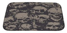 Bathroom Rugs Ideas | Gear New Grunge Skulls Bath Mat Microfiber Foam With Non Skid Backing 34x21 GN743 *** Click image for more details. Note:It is Affiliate Link to Amazon. #vegas