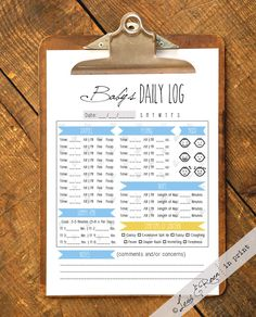 Nanny Daily Log for Baby Boy (0-12 Months) Track Diapers, Feeding, Mood, Naps, Tummy Time & More! - Instant PDF Download