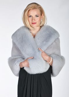 A stunning cape of stunning, delicately toned natural Twilight Grey Mink, trimmed in luscious fox of the same lovely color. Winter Poncho, Poncho Coat, Fur Cape, Grey Fox, Fur Clothing, Mink Fur, Latest Fashion For Women, My Style, How To Wear