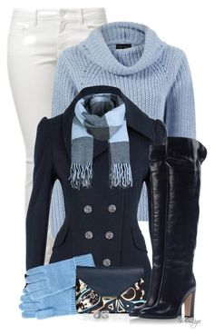 Outfit by sherri-leger Blue Roll Cowl Neck Swing Jumper Finish off this soft knit jumper with blue mom jeans and grey heels. Modest Casual Outfits, Casual Winter Outfits, Fall Outfits, Outfit Winter, Mode Outfits, Fashion Outfits, Boating Outfit, Bleu Marine, Mode Style