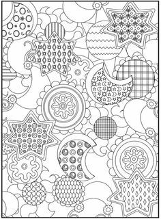 Flowers and Stars Adult Coloring Page