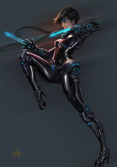 Cover the skin, take off the heels. Character Concept, Character Art, Concept Art, Character Design, Sci Fi Fantasy, Fantasy Girl, Cyberpunk Girl, Ghost In The Machine, Another Anime