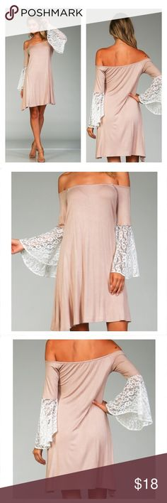 OFF THE SHOULDER TUNIC DRESS SOLID MODAL FABRIC OFF THE SHOULDER MODAL DRESS FEATURING CROCHET CONTRAST CUFF DETAILING. BELL SLEEVES. ELASTICIZED SHOULDER OPENING. Dresses