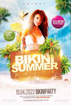 Bikini White Summer Party Flyer Template - http://www.ffflyer.com/bikini-white-summer-party-flyer-template/ Excellent promotional flyer for your events this summer, fresh and excellent design, ready to use and easy to modify, BUY NOW!  #Beach, #Club, #Dance, #Dj, #Electro, #House, #Lounge, #Party, #Pool, #Summer, #Sun