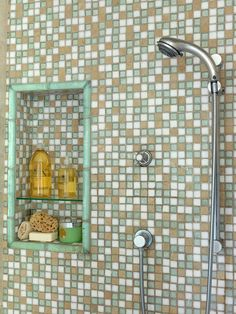 Double-Duty Niche  Make a shower niche even more hardworking by adding a shelf so you can double up on storage capacity. Use one shelf for sponges, creams, and soaps, and a second shelf for shampoo and conditioner.