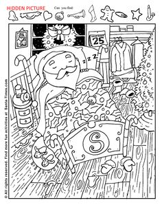 Sleepy Santa Hidden Picture Activity Christmas Coloring Page Noel Christmas, Christmas Colors, Christmas Crafts, Xmas, Christmas Worksheets, Christmas Printables, Christmas Activities, Activities For Kids, Colouring Pages