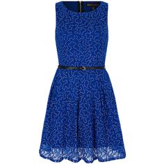 Mela London Blue Sequin Lace A-Line Belted Dress ($35) ❤ liked on Polyvore featuring dresses, lace dress with belt, long a line dress, long sequin dress, lacy dress and a line dress