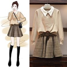 Sweater Suits for Autumn and Winter Age Reduction – orchidmetus Korean Outfits, Trendy Outfits, Cute Outfits, Ulzzang Fashion, Asian Fashion, Fashion Drawing Dresses, Fashion Dresses, Fashion Models, Girl Fashion